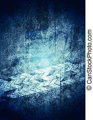 Blue grunge tech geometric background