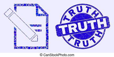 Blue Grunge Truth Stamp Seal and Edit Text Page Mosaic