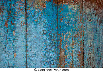 Painted old wooden wall. - Blue grunge wood close-up...