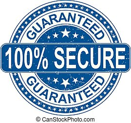 blue guaranteed 100% secure rubber stamp internet sign on white background