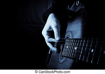 guitar at black background - blue guitar at black background