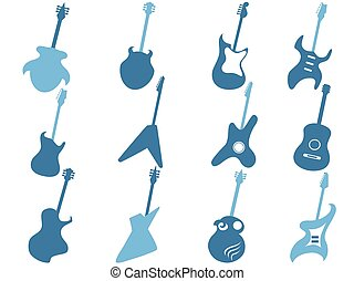 blue guitar icons set