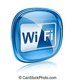 blue háttér, elszigetelt, pohár, fehér, wi-fi, ikon