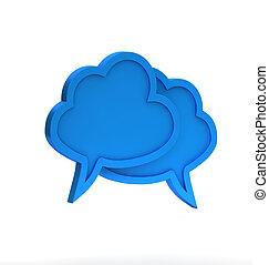 blue háttér, felhős, párbeszéd, fehér, ikon