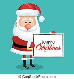 blue háttér, klaus, ég, szent, karácsonyi üdvözlőlap