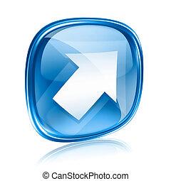 blue háttér, nyíl, elszigetelt, pohár, fehér, ikon