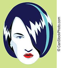 blue hair illustration