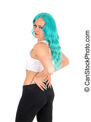 Blue hair woman looking over shoulder.