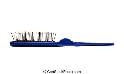 Blue hairbrush isolated on a white background