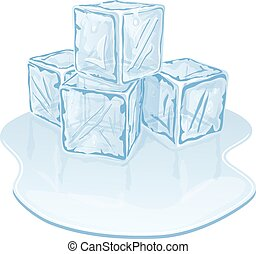 ice cube pile - Blue half-melted ice cube pile. Vector...