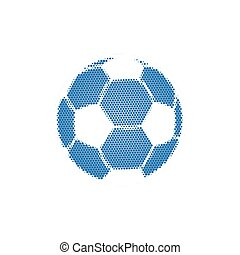 Blue Halftone Football with dots. Flying soccer ball. Vector illustration isolated on white background