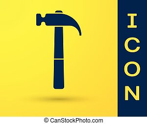 Blue Hammer icon isolated on yellow background. Tool for repair. Vector Illustration