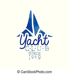 Blue hand drawn emblem for yacht club. Concept of sea...