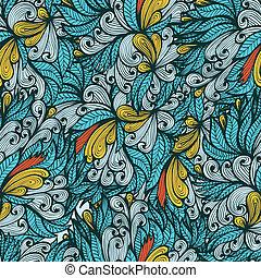 Blue hand drawn floral pattern