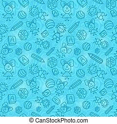 Blue Hand Drawn Seamless Pattern with Kids