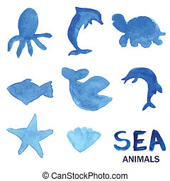 Blue hand drawn watercolor painted sea animals set.