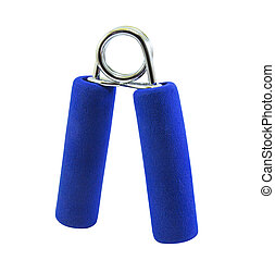 Blue hand grip with clipping path on white background