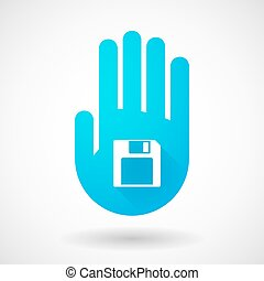 Blue hand icon with a floppy