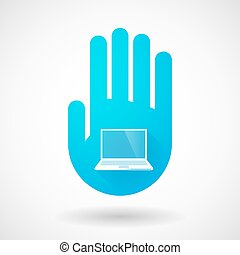Blue hand icon with a laptop
