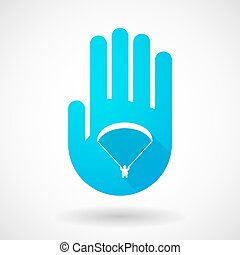 Blue hand icon with a paraglider