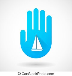 Blue hand icon with a ship