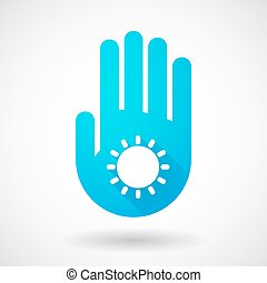 Blue hand icon with a sun