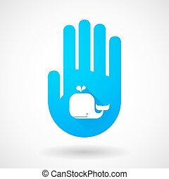 Blue hand icon with a whale