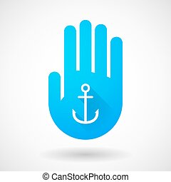 Blue hand icon with an anchor