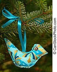 Blue hand made Christmas bird