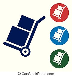 Blue Hand truck and boxes icon isolated on white background. Dolly symbol. Set color icon in circle buttons. Vector Illustration