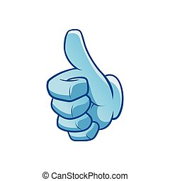 blue hand with thumb up