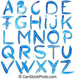 Blue hand-written alphabet isolated over white background
