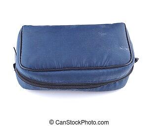 blue handbag on a white background