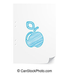 Blue handdrawn Apple illustration on white paper sheet with copy space
