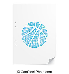 Blue handdrawn Basketball illustration on white paper sheet with copy space