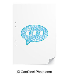 Blue handdrawn Comment illustration on white paper sheet with copy space