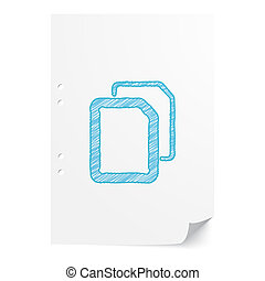 Blue handdrawn Documents illustration on white paper sheet with copy space