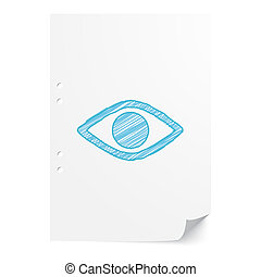 Blue handdrawn Eye illustration on white paper sheet with copy space