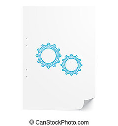 Blue handdrawn Gears illustration on white paper sheet with copy space