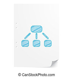 Blue handdrawn Hierarchy illustration on white paper sheet with copy space