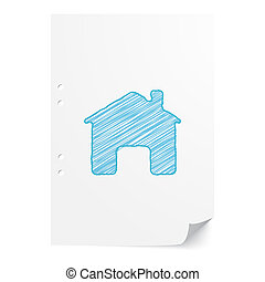 Blue handdrawn Home illustration on white paper sheet with copy space