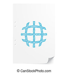 Blue handdrawn International  illustration on white paper sheet with copy space