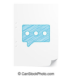 Blue handdrawn Message illustration on white paper sheet with copy space
