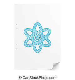 Blue handdrawn Nuclear illustration on white paper sheet with copy space