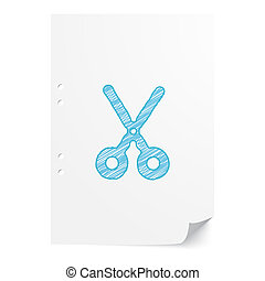 Blue handdrawn Scissors illustration on white paper sheet with copy space