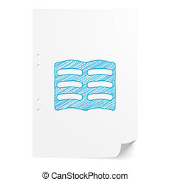Blue handdrawn Text illustration on white paper sheet with copy space