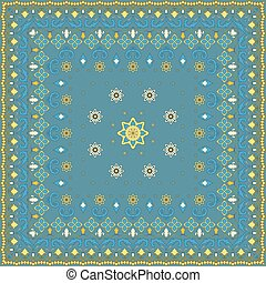 Blue handkerchief with yellow ornament