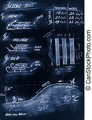Blue handmade diagram of testing procedure sledge
