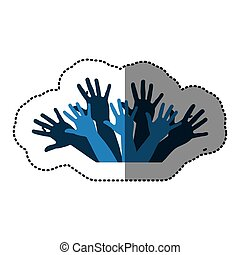 blue hands up together icon