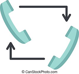 Blue handsets with arrows icon, flat style